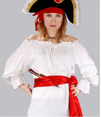 Women's Authentic Pirate Blouse (Color: W-R-HO-HG-G-RB-CH-Bk: White)