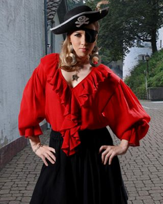 WOMEN'S AUTHENTIC RUFFLED PIRATE BLOUSE (Color: (B-R): Red)