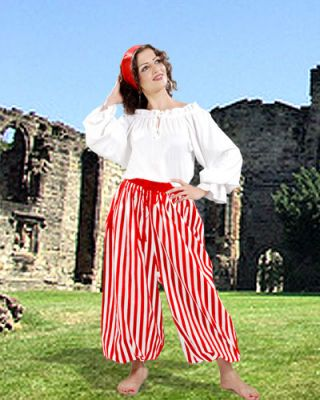 JOHN SILVER STYLED COSTUME PIRATE STRIPED PANTS (Colors: RW-BR-BW: Red/White)