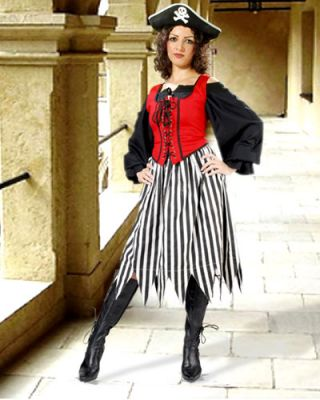 Cute Striped Pirate Costume Skirt (Color: (BW-BR-RW): Black / White)
