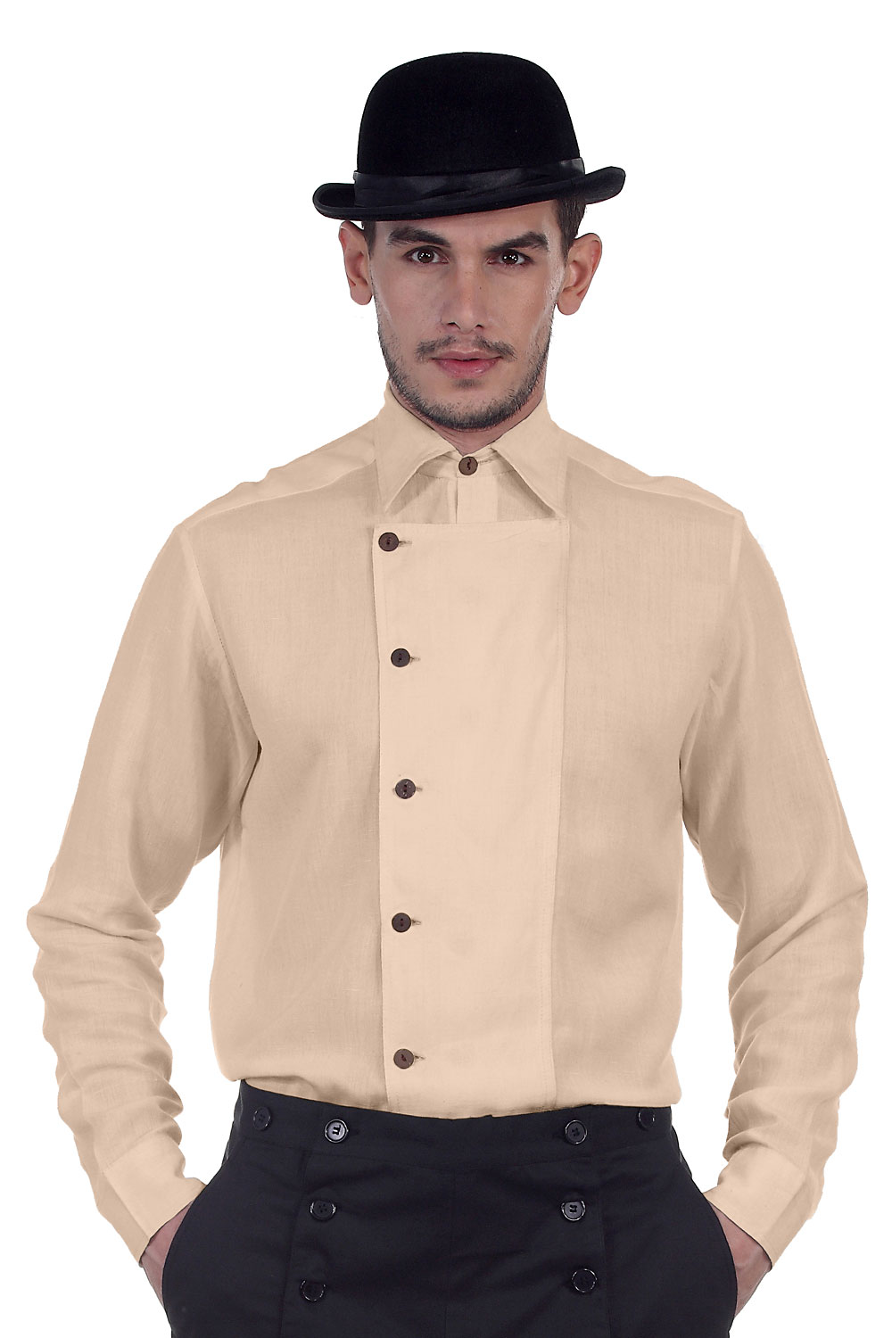 Linen Vintage Side-Button Shirt - 10 Color options (Color: (AL-BK-CH-GO-GR-OW-NV-OR-PK-RD): Almond)