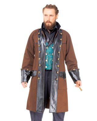 Victorian Steampunk Pirate Time Traveler Style Coat (COLOR: (B-C): Brown)