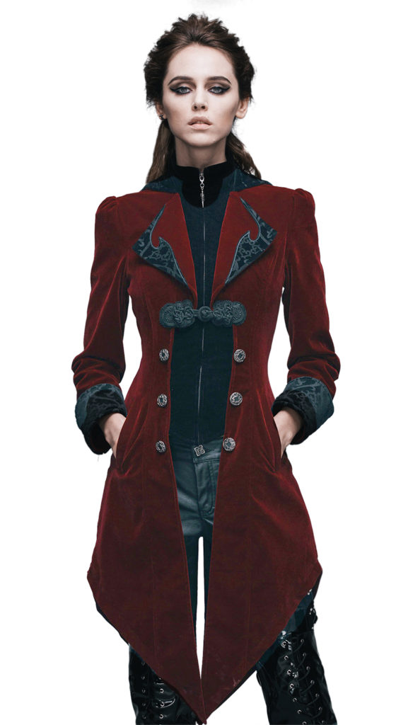 Vintage Gothic Swallowtail Jacket (Color: (B-R): Red)