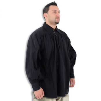 Medieval Black Cotton Shirt with Collar and Button Neck (Sizes:M-XXL: Size: Medium)