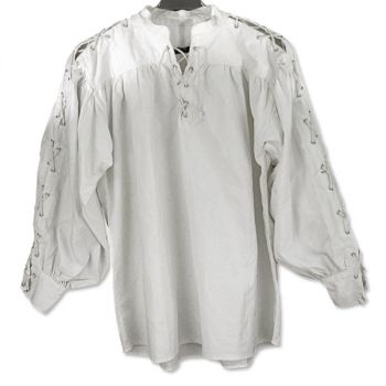 White Cotton Shirt, Collarless with Laced Neck & Sleeves (Size: M-XXL: Size: Medium)