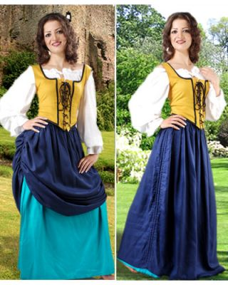 Double-Layer Medieval Skirt (Colors: (NV/P B/T DG/GD DB-R: Navy Blue & Petrol)