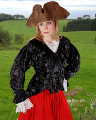 Mary Read Inspired Pirate Costume Blouse (Color: (B-R): Black)