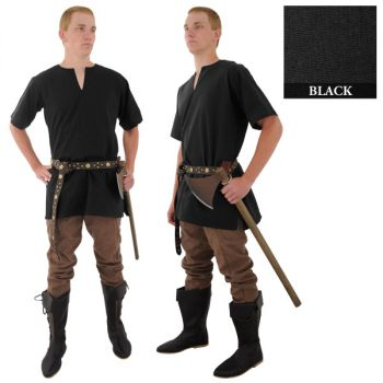 Medieval Tunic - Black (Size - [M-XXL]: Size: Medium)
