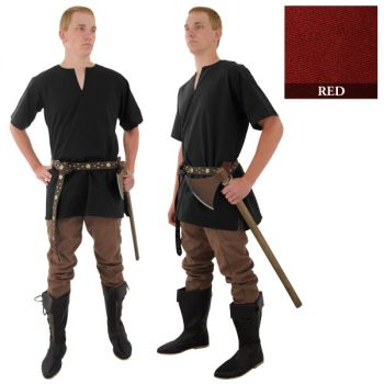 Medieval Tunic - Red (Sizes:  (M-XXL): Size: Medium)