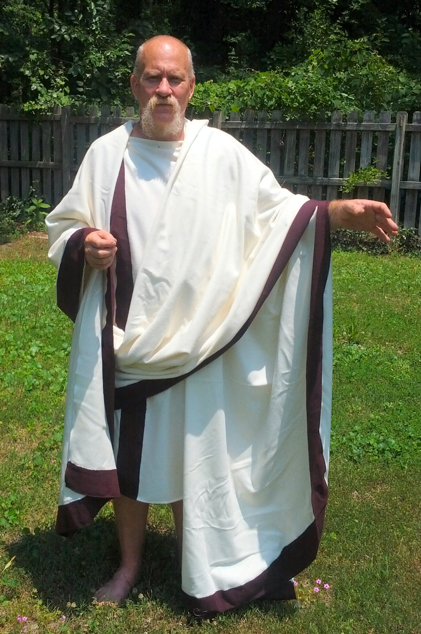"Roman Senatorial Toga and Tunic Combo  -  Wool (Chest Sizes (32-54""): 34 - 36 Inch)"