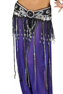 Fringed Butterfly Belt with beads and sequins (COLORS: BK-FH-GD-GR-PR-R-RB-TQ-WH: Black)