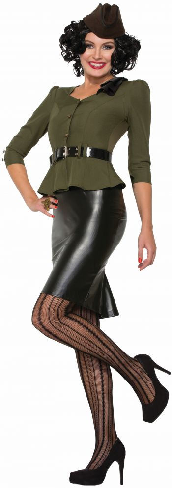 Lady's World War II Sexy Skirt and Jacket with Belt Costume (Size: (XS-S)(M-L): X-Small/Small)