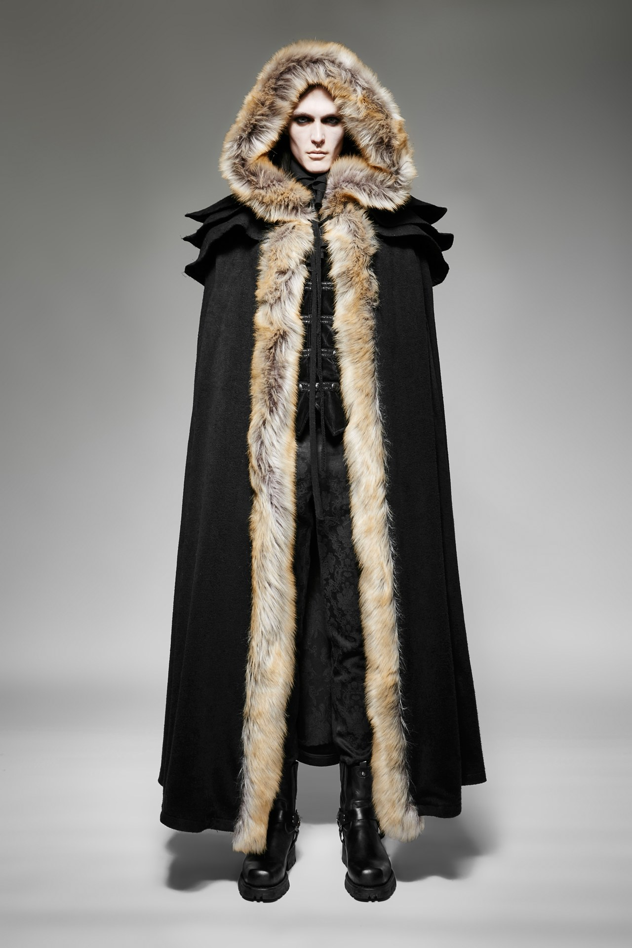 Long Gothic Red or Black Fur Trimmed Hooded Cloak (Color: (B-R): Black)