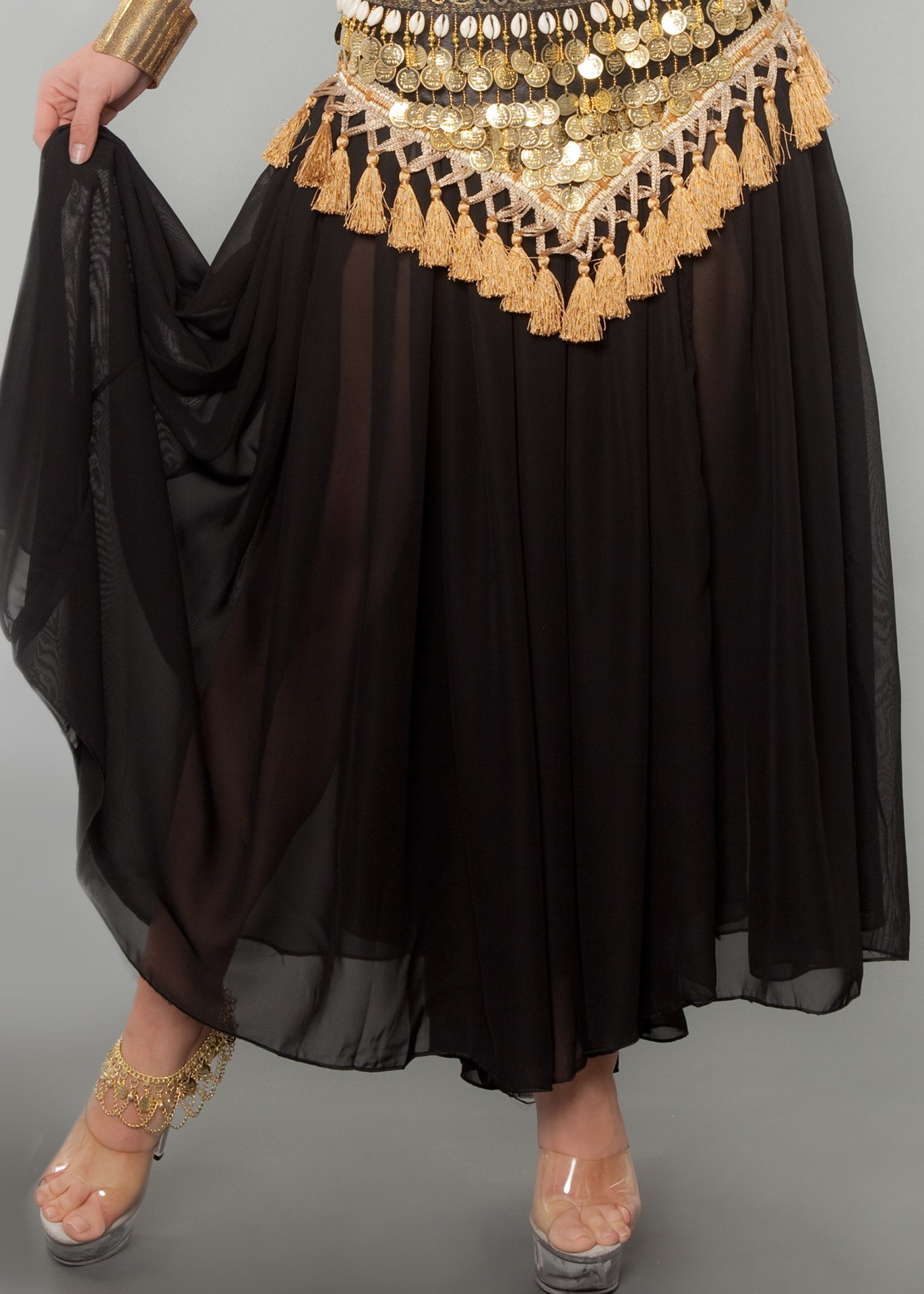 Belly Dancer Full Skirt (COLORS: R-Bk-Pr-Wh-Roy-Li: Black)