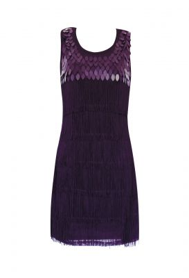 Vivid Colors Sequin and Fringe Flapper Dress (Color: (PBS): Purple)