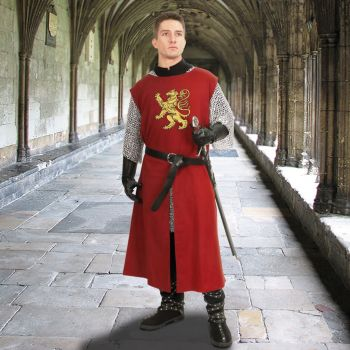 Medieval Knight Tunic Surcoat w/Embroidered Crest (Color: (BgBkBlNat): Burgundy)