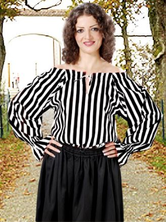 Great Striped Pirate Blouse Costume for Women (COLOR (B/R-B/W-R/W): Black & White)