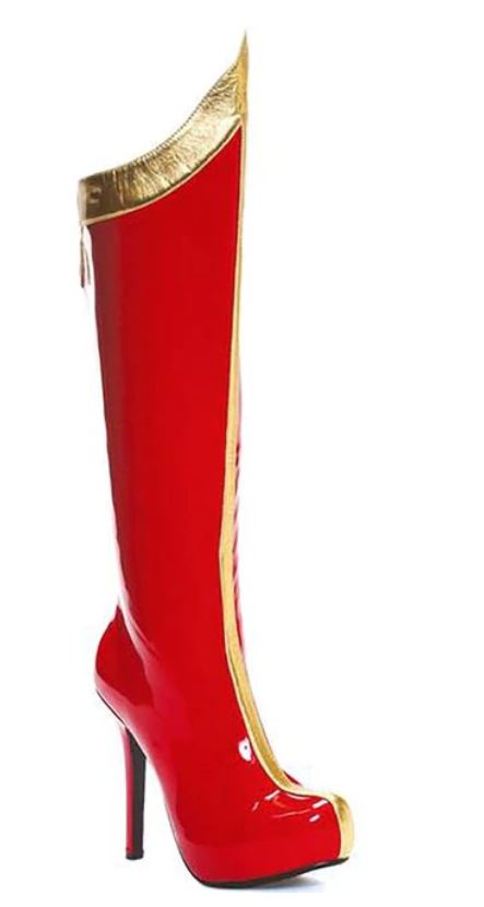 Women's Superhero Red & White or Red & Gold Knee Boots (Color: (R/W-R/G): Red with Gold)