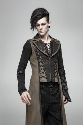 Men's Awesome Steampunk Goth Long Vest (Color: (Bk-Br): Brown)